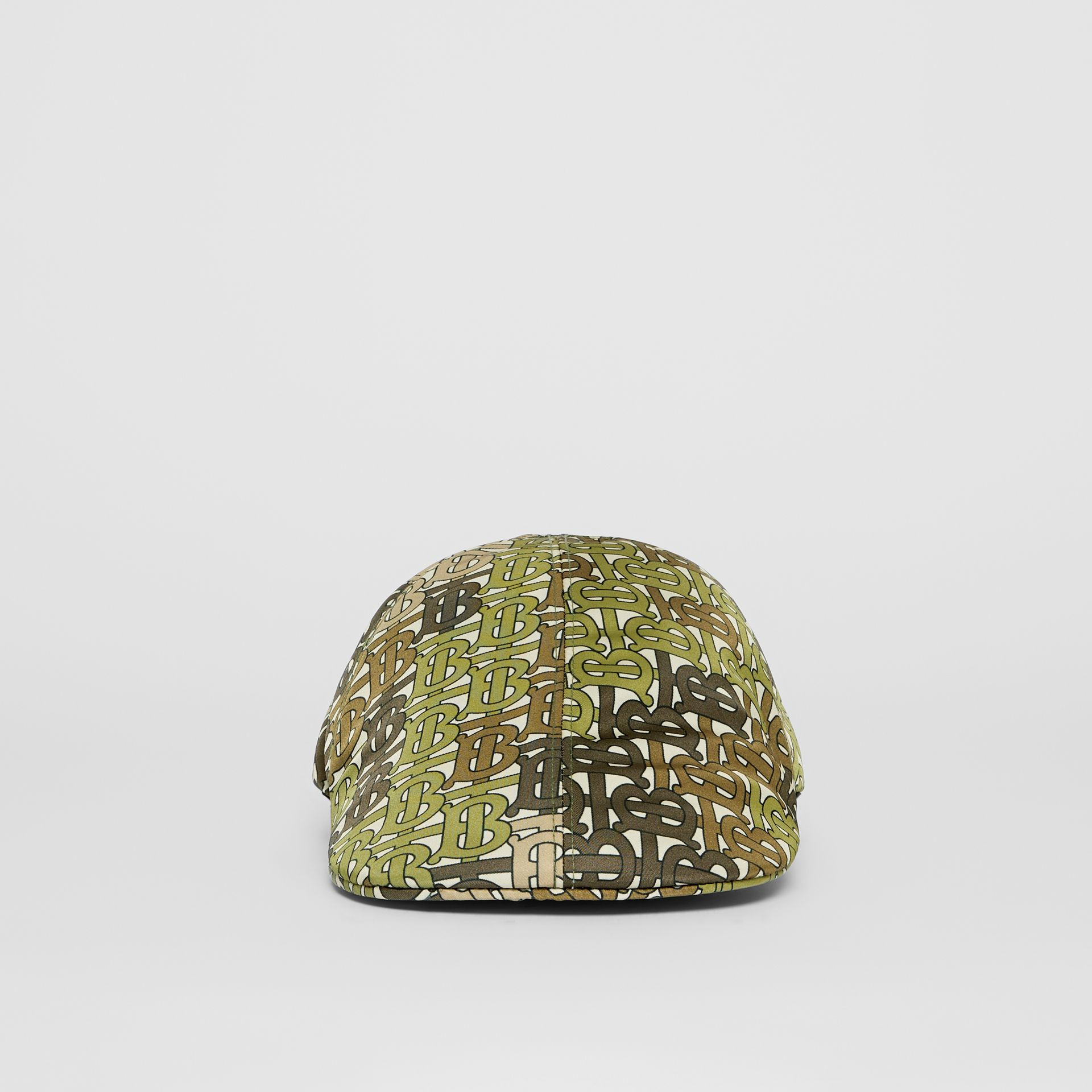 Monogram Print Nylon Flat Cap in Khaki Green | Burberry - gallery image 4