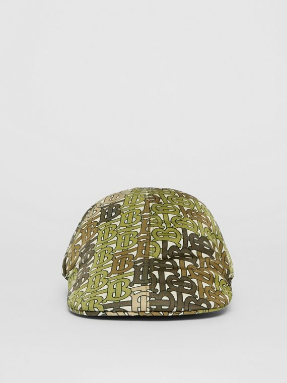 Monogram Print Nylon Flat Cap in Khaki Green