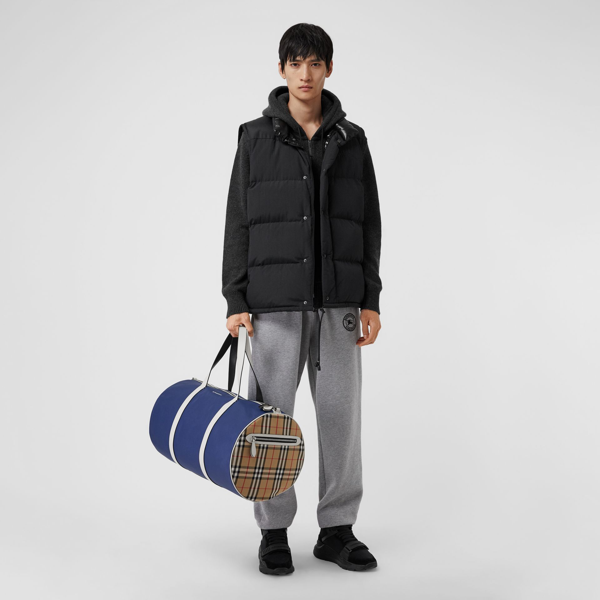 Large Colour Block Vintage Check Barrel Bag in Dark Canvas Blue - Men | Burberry Singapore - gallery image 2