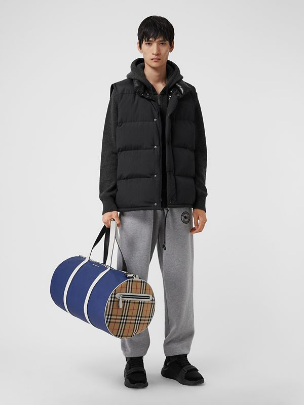 Large Colour Block Vintage Check Barrel Bag in Dark Canvas Blue - Men | Burberry Singapore - cell image 2