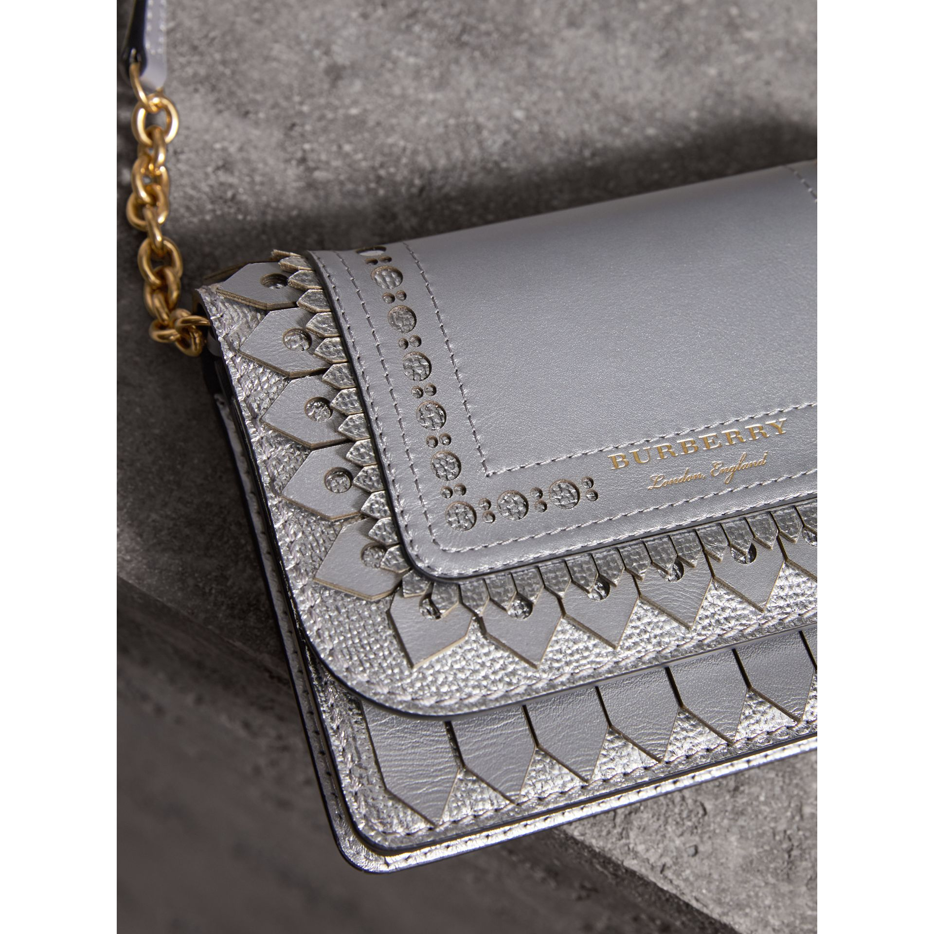 Brogue Detail Metallic Leather Wallet with Detachable Strap in Silver - Women | Burberry United States - gallery image 1