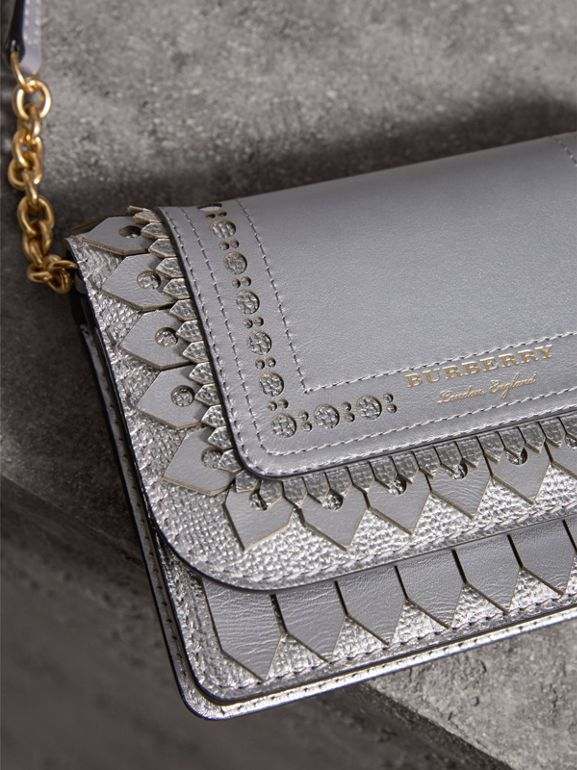 Brogue Detail Metallic Leather Wallet with Detachable Strap in Silver - Women | Burberry - cell image 1