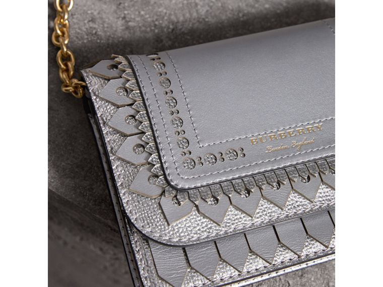Brogue Detail Metallic Leather Wallet with Detachable Strap in Silver - Women | Burberry United States - cell image 1