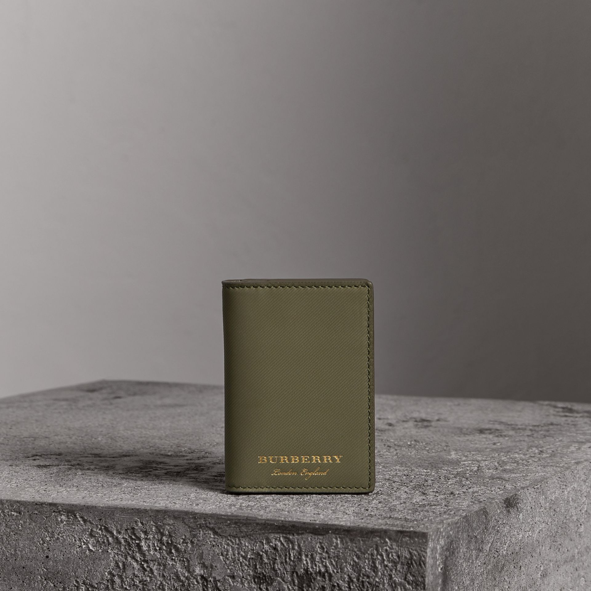 Trench Leather Folding Card Case in Slate Green - Men | Burberry - gallery image 0