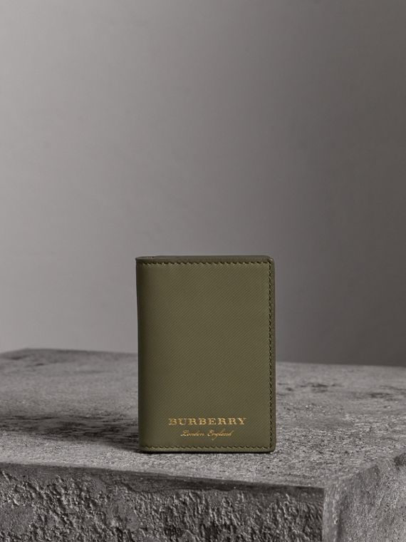Trench Leather Folding Card Case in Slate Green