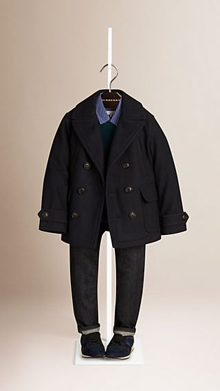 Double-Breasted Wool Cashmere Pea Coat