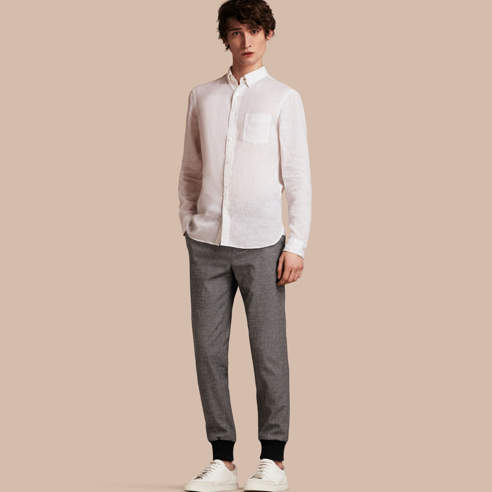 Prince of Wales Cotton Wool Trousers with Knit Cuffs - gallery image 1