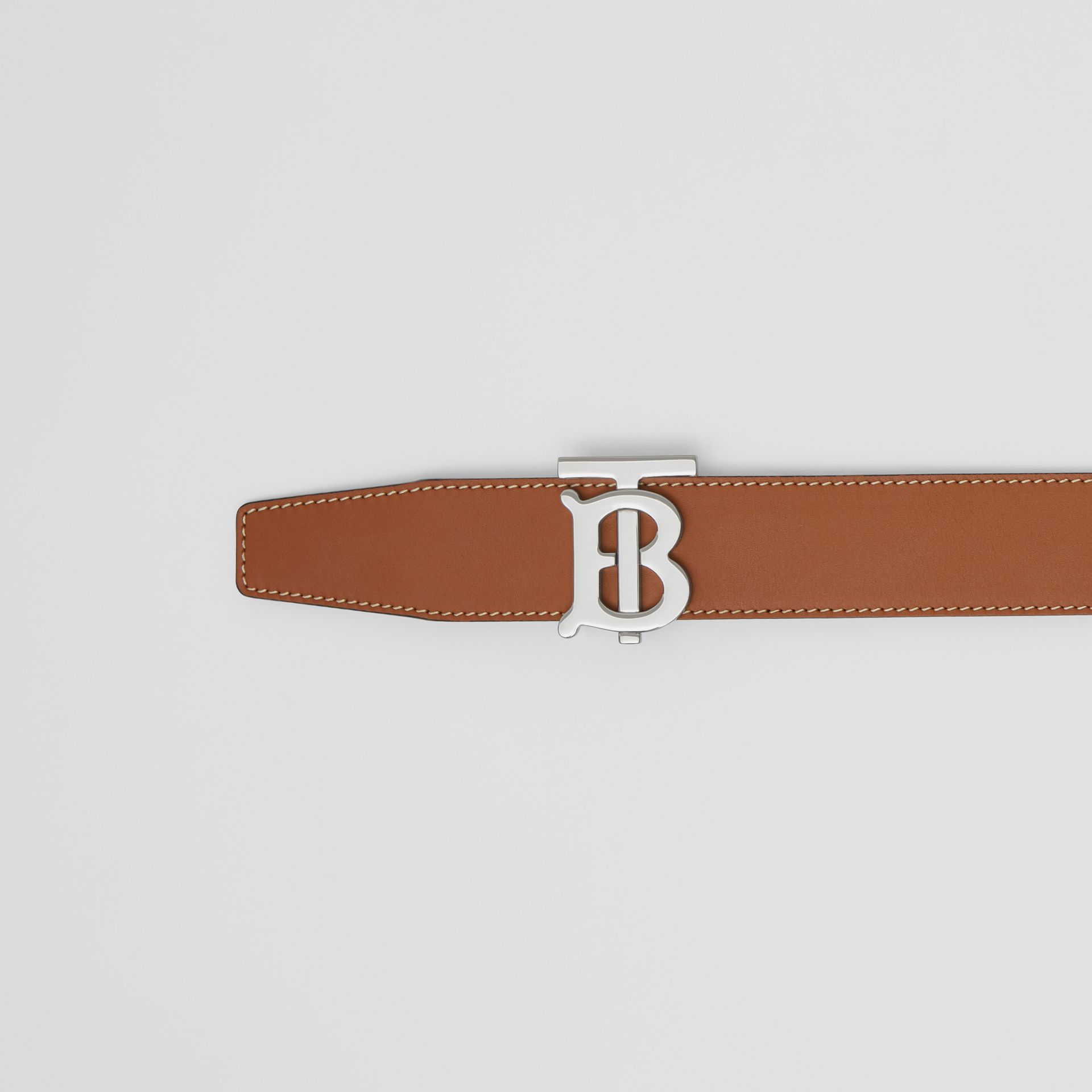 Reversible Monogram Motif Leather Belt in Tan/black - Men | Burberry - gallery image 1