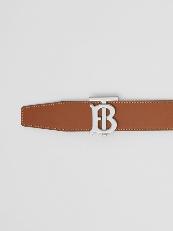 Reversible Monogram Motif Leather Belt in Tan/black - Men | Burberry Australia - cell image 1