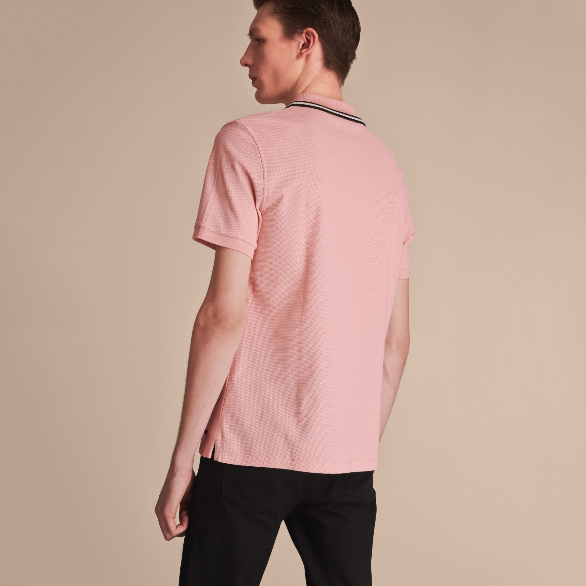 Striped Collar Cotton Piqué Polo Shirt in Chalk Pink - Men | Burberry Singapore - gallery image 3