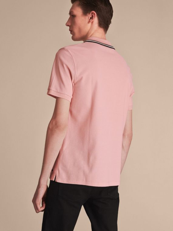Striped Collar Cotton Piqué Polo Shirt in Chalk Pink - Men | Burberry - cell image 2