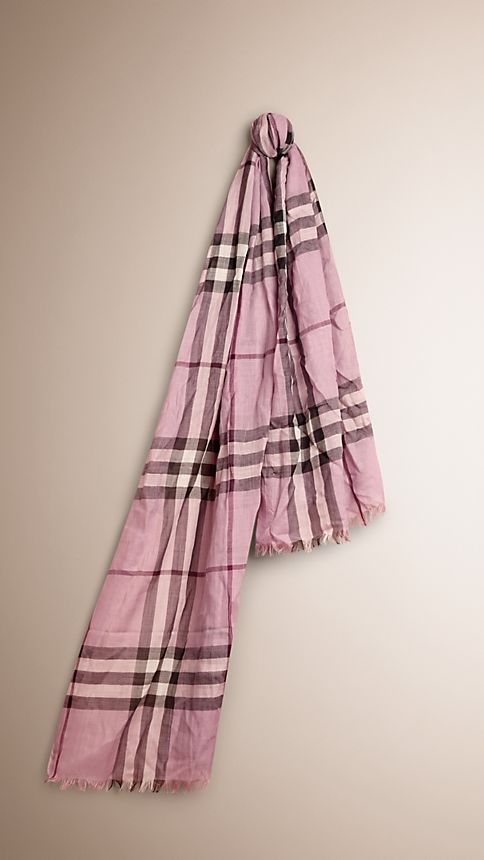 Pink heather check Lightweight Check Wool and Silk Scarf - Image 1