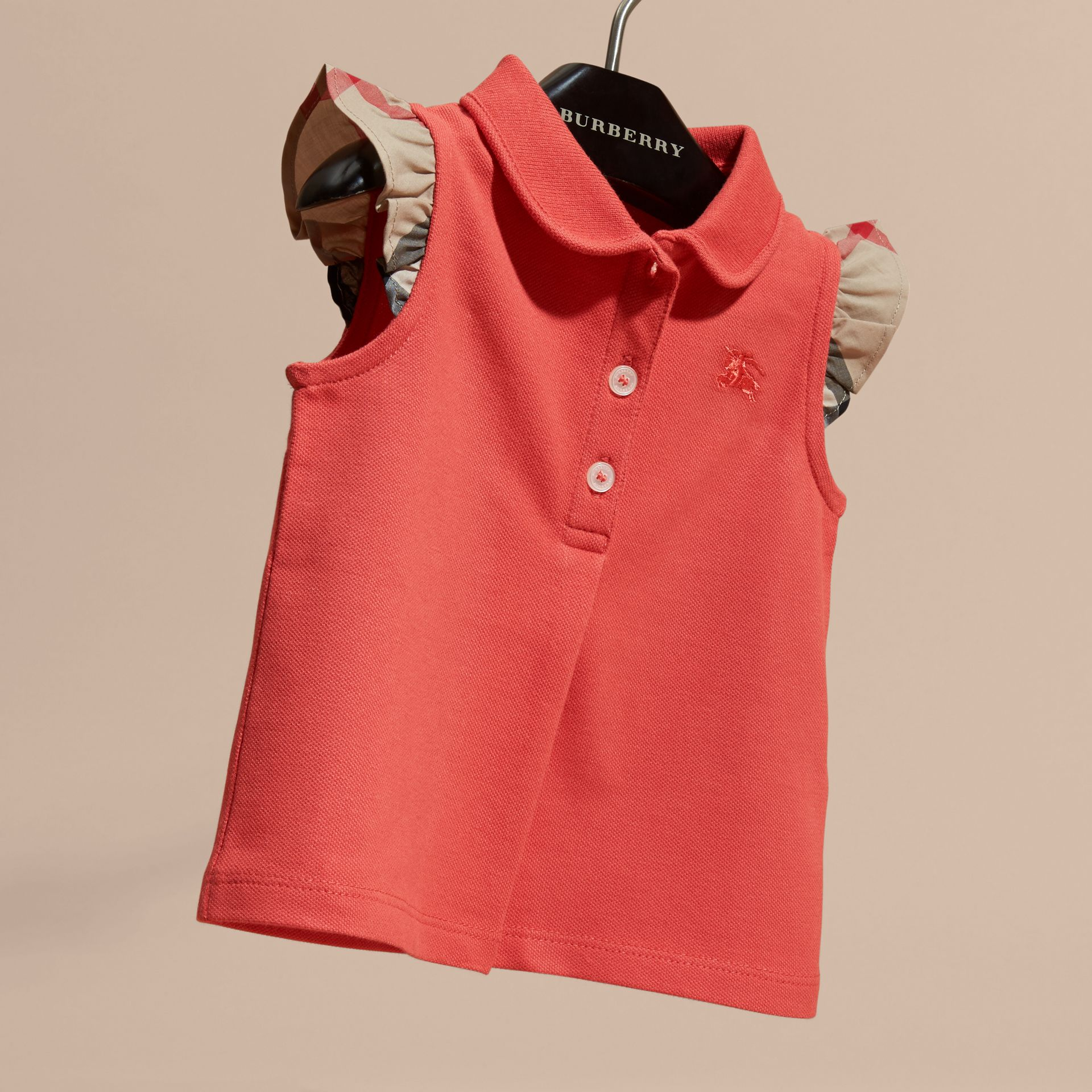 Flutter-sleeve Cotton Piqué Polo Shirt in Coral Red - gallery image 3