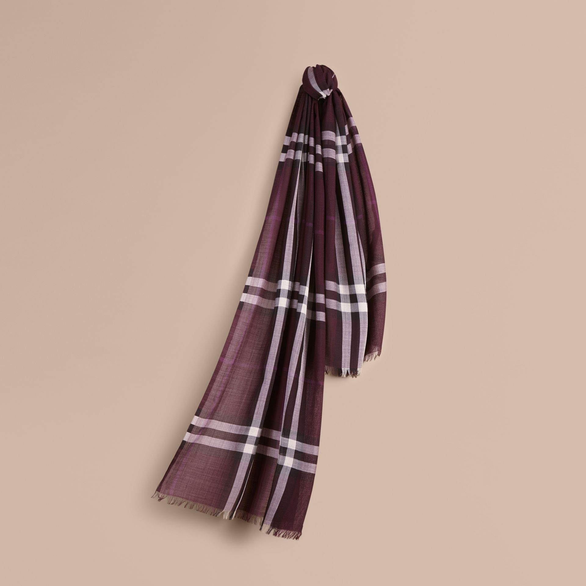 Aubergine check Lightweight Check Wool and Silk Scarf Aubergine - gallery image 1