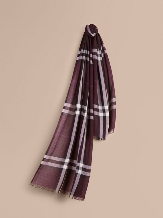Lightweight Check Wool and Silk Scarf Aubergine