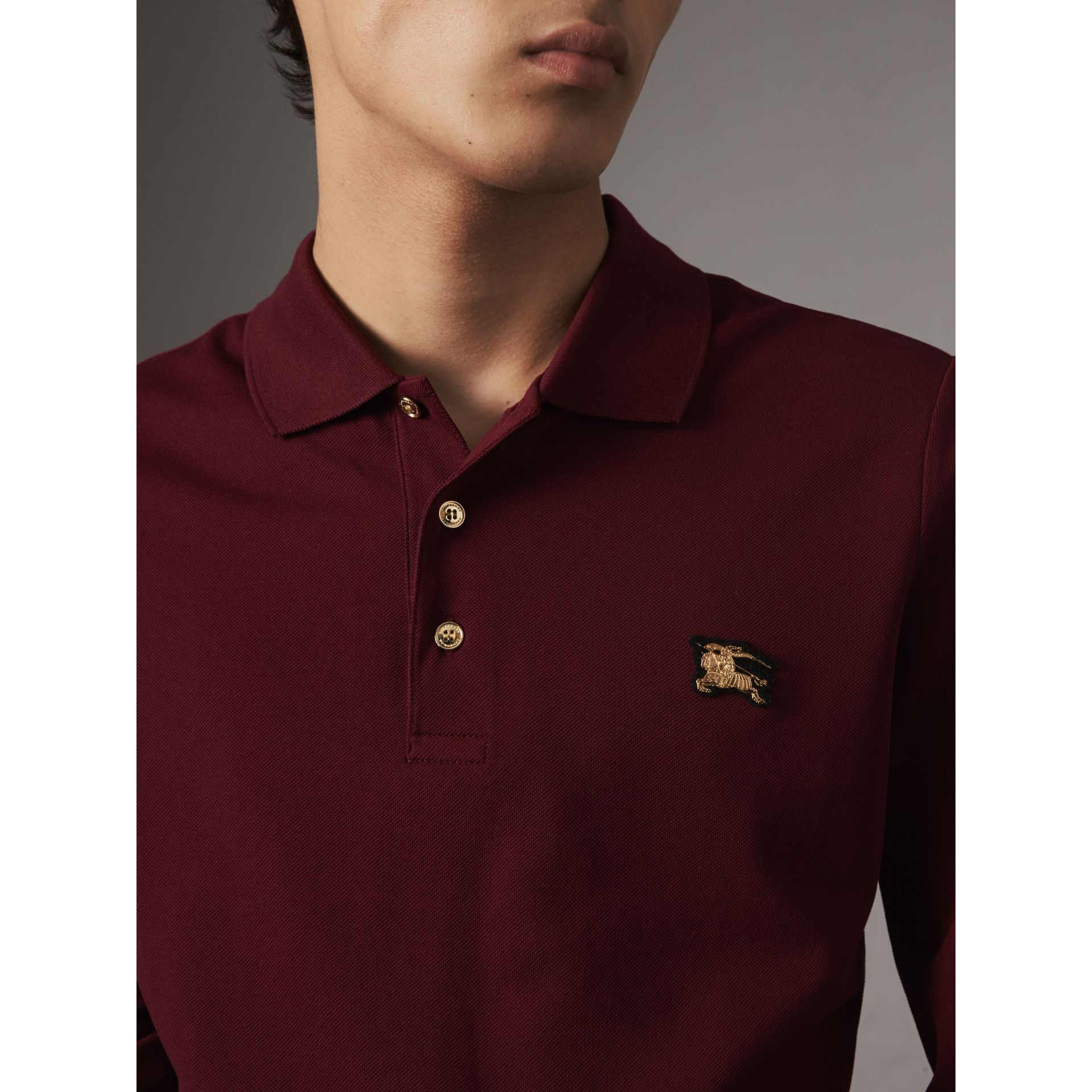 Long-sleeve Cotton Piqué Polo Shirt in Burgundy Red - Men | Burberry - gallery image 2