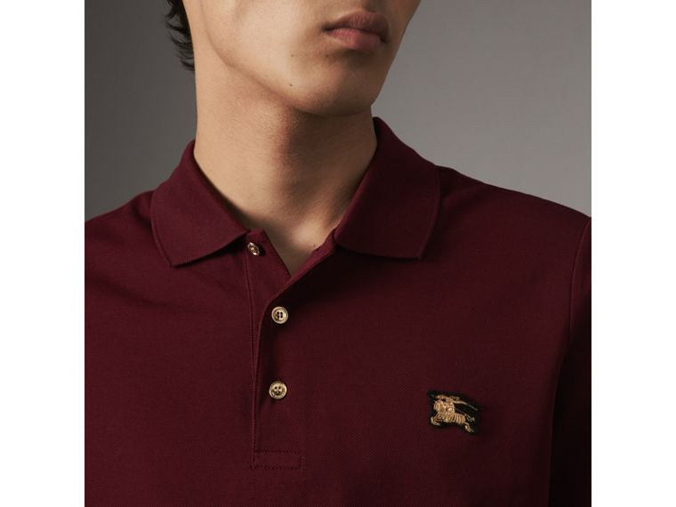 Long-sleeve Cotton Piqué Polo Shirt in Burgundy Red - Men | Burberry - cell image 1