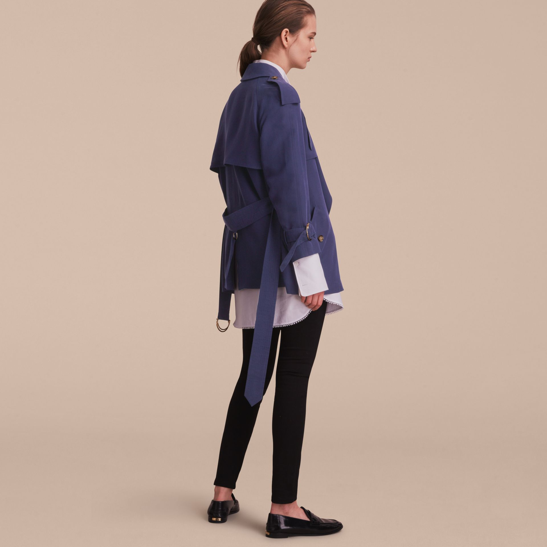 Silk Wrap Trench Coat Navy - gallery image 3