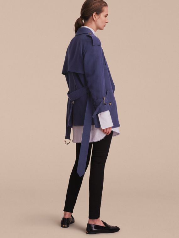 Silk Wrap Trench Coat Navy - cell image 2