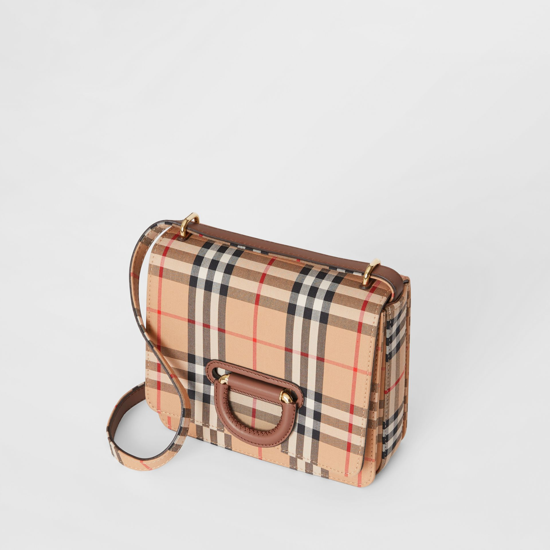The Small Vintage Check D-ring Bag in Archive Beige - Women | Burberry Australia - gallery image 3