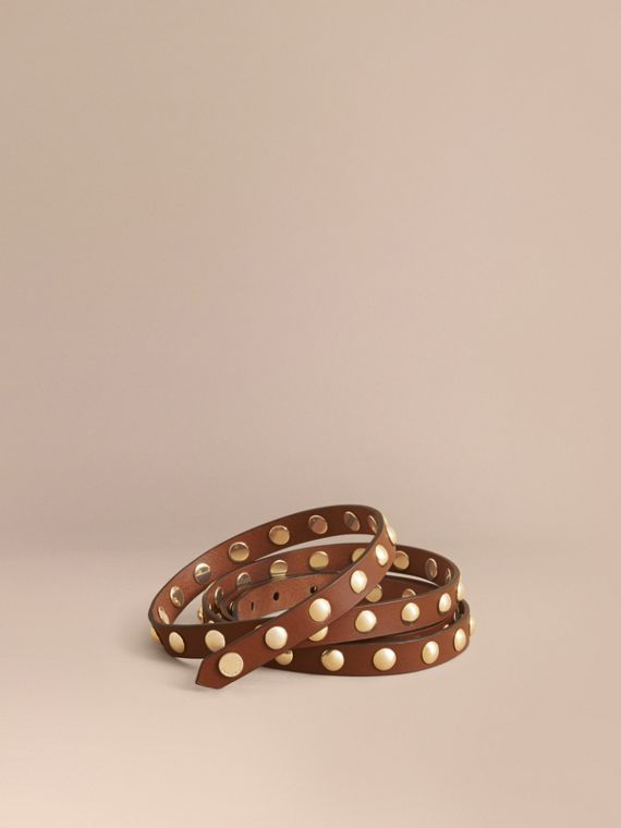 Studded Bridle Leather Double-wrap Belt in Tan