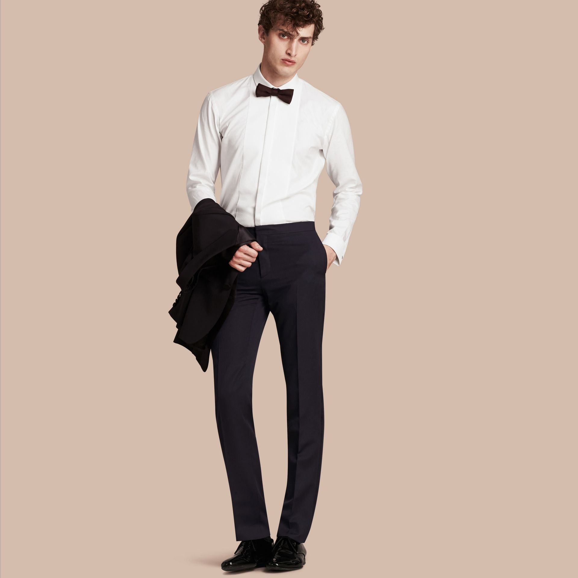 Navy Virgin Wool Tuxedo Trousers - gallery image 1
