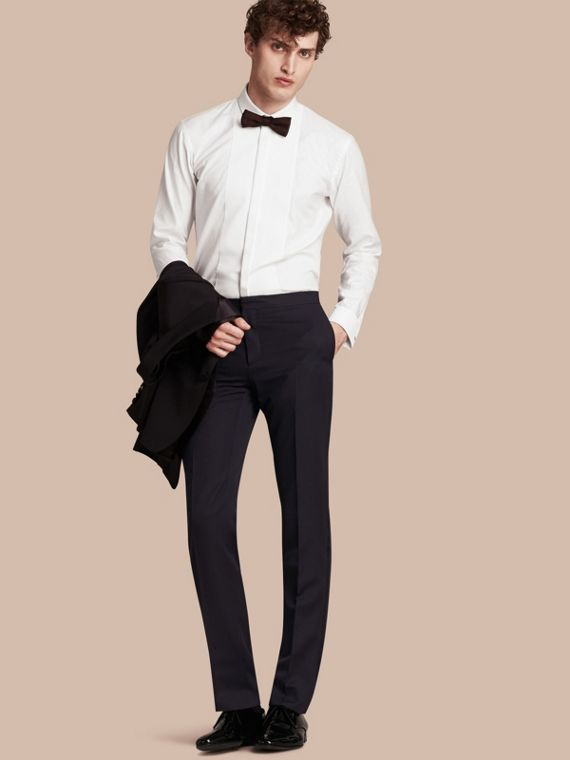 Virgin Wool Tuxedo Trousers Navy