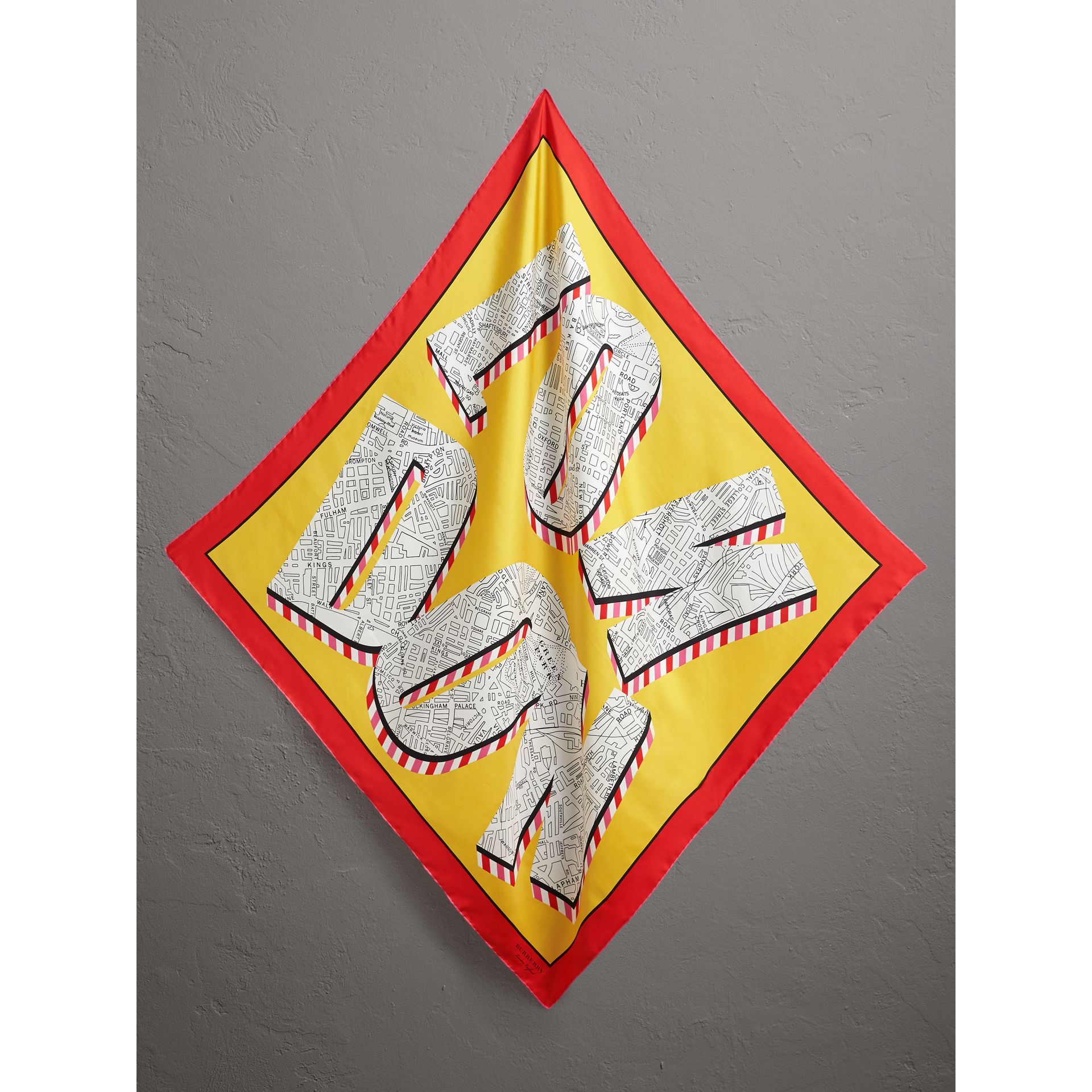 London Print Silk Square Scarf in Bright Yellow - Women | Burberry - gallery image 0