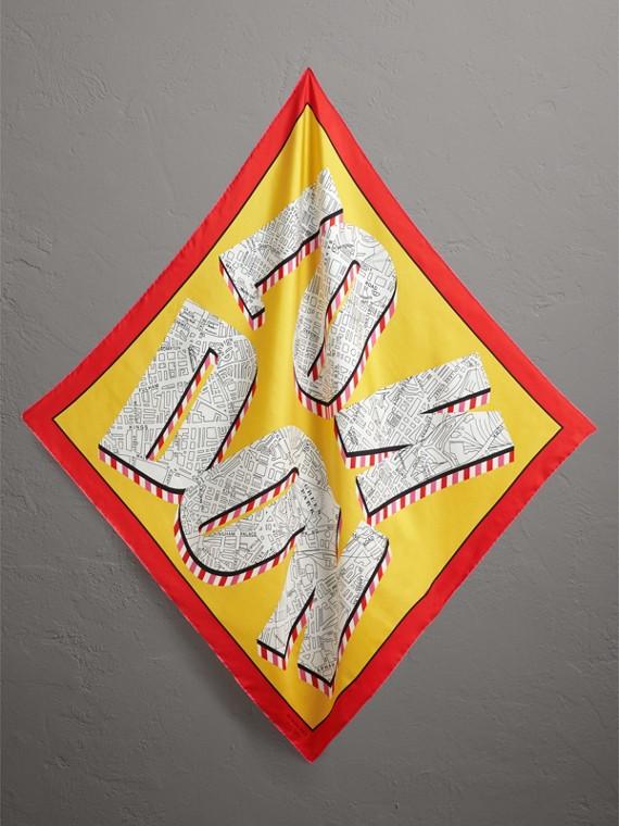 Pañuelo cuadrado en seda con estampado londinense (Amarillo Intenso)