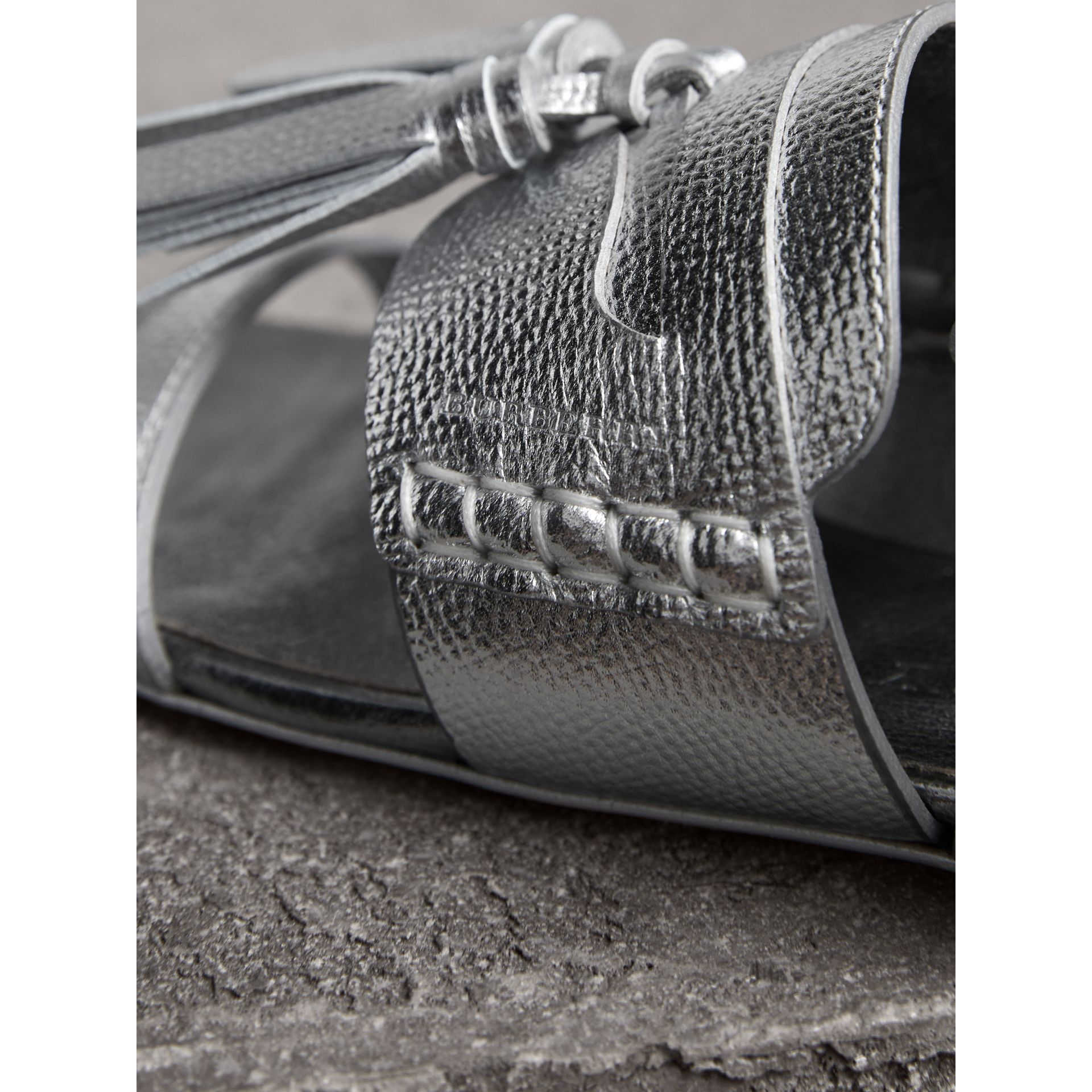 Tasselled Metallic Leather Sandals in Silver - Women | Burberry - gallery image 1
