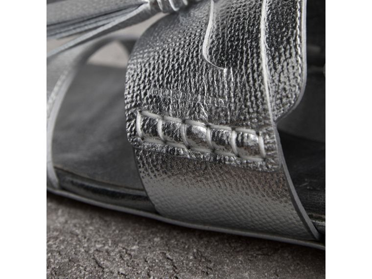 Tasselled Metallic Leather Sandals in Silver - Women | Burberry Singapore - cell image 1