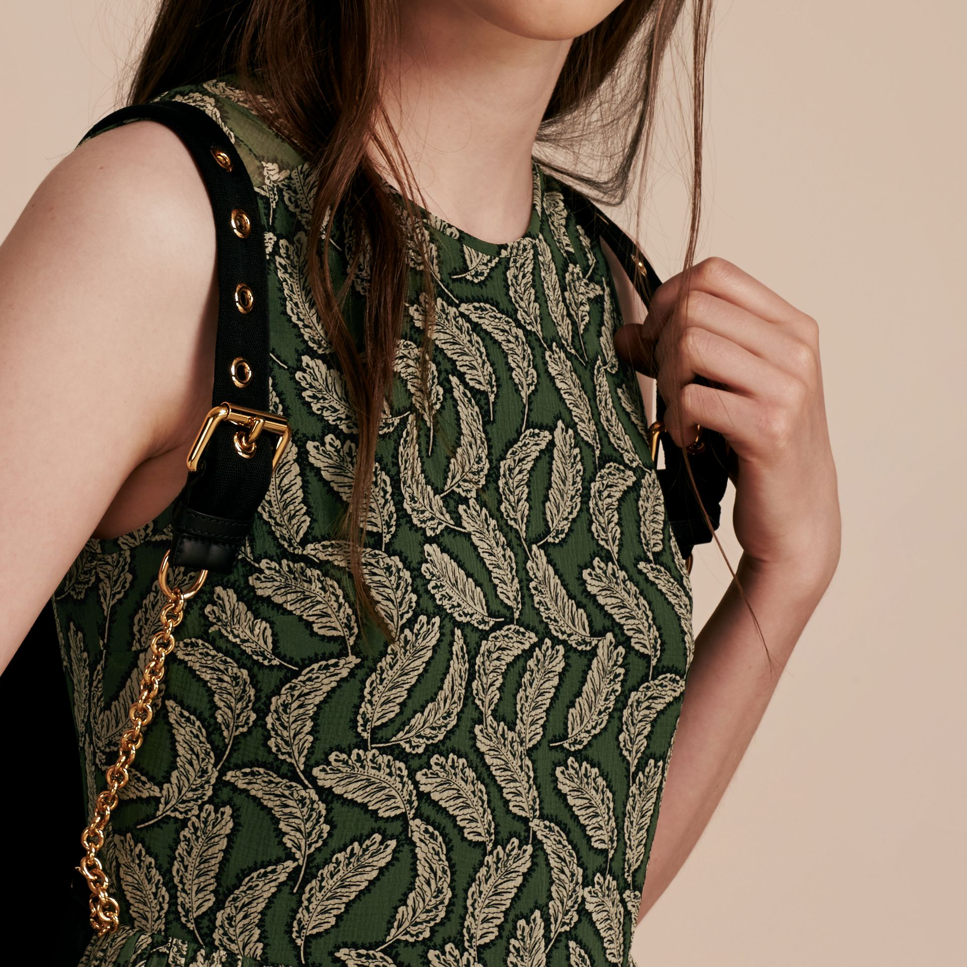 Dusty green Leaf Print Silk Midi Dress - gallery image 5