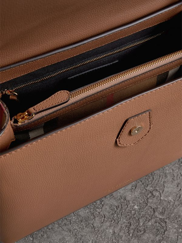 Small Grainy Leather and House Check Tote Bag in Dark Sand - Women | Burberry United Kingdom - cell image 3