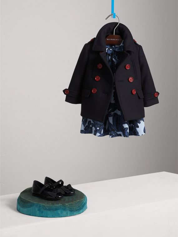Resin Button Wool Cashmere Blend Pea Coat in Navy