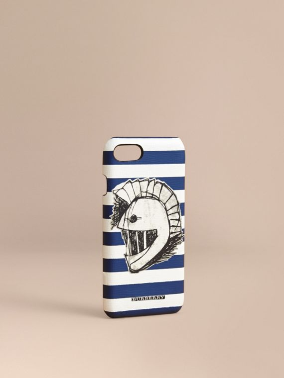 Striped London Leather iPhone 7 Case with Pallas Helmet Motif