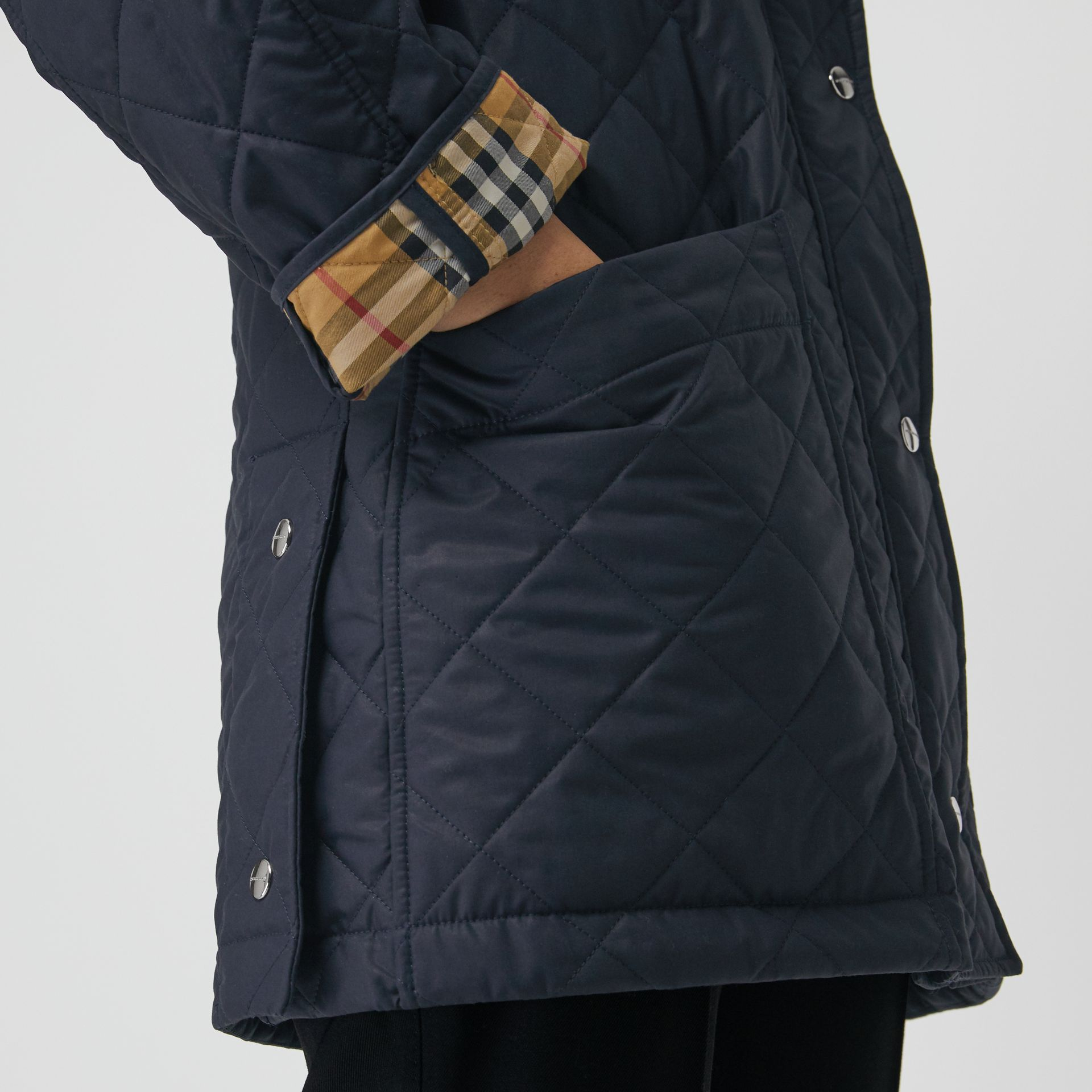 Lightweight Diamond Quilted Hooded Parka in Navy - Women | Burberry - gallery image 4