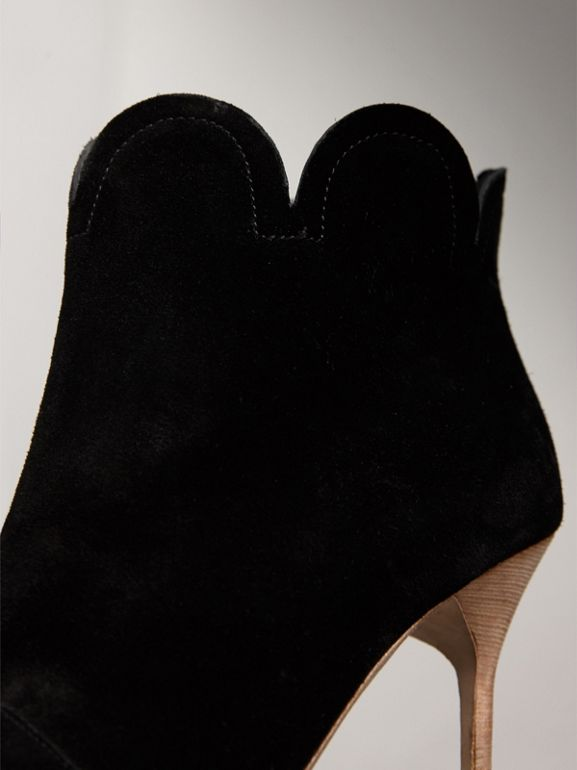Scalloped Suede Ankle Boots in Black | Burberry United States - cell image 1