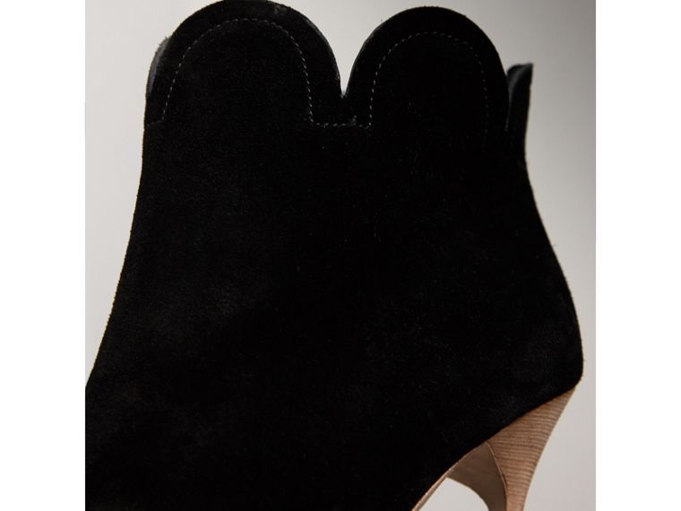 Scalloped Suede Ankle Boots in Black - Women | Burberry United States - cell image 1