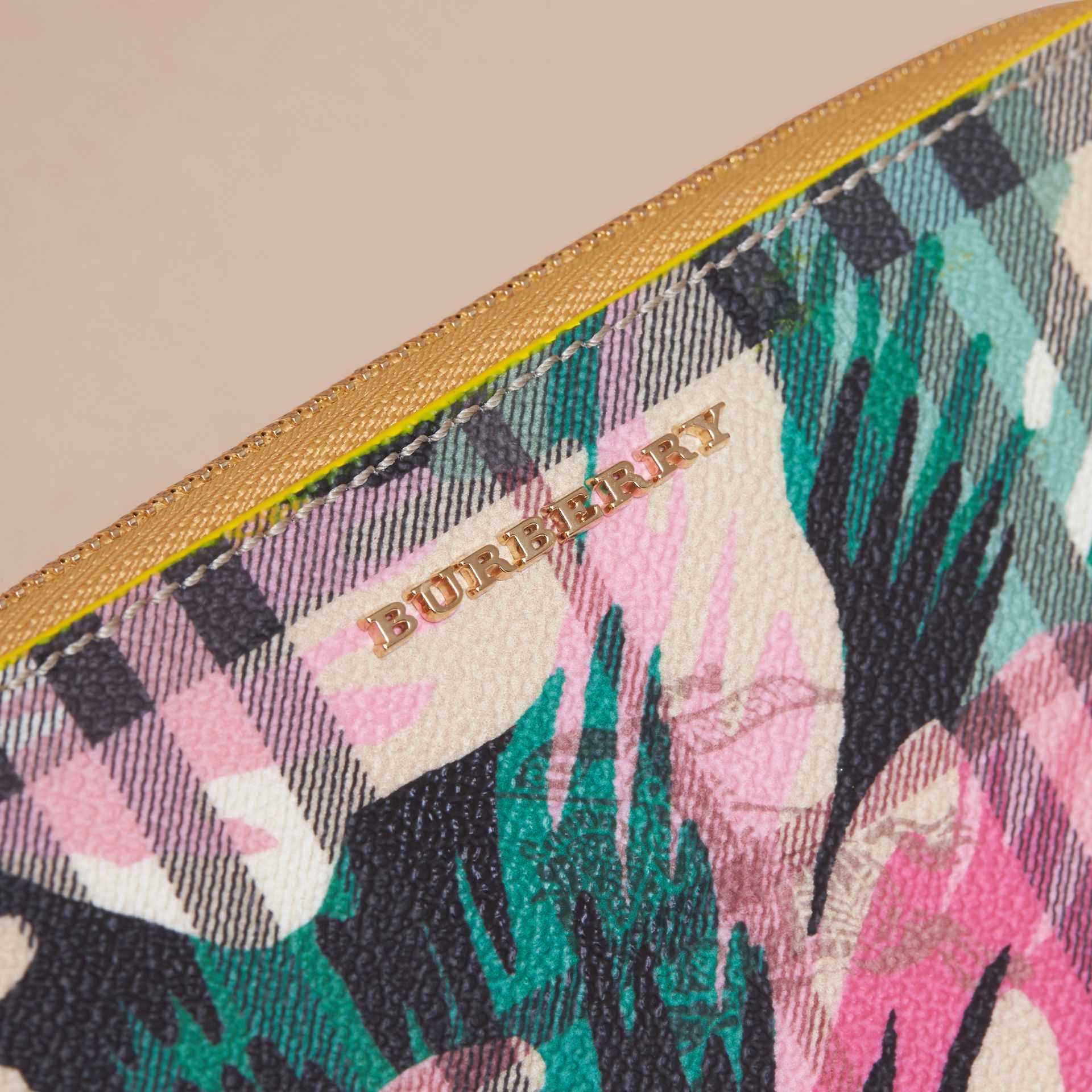 Larch yellow/emerald green Peony Rose Print Haymarket Check and Leather Ziparound Wallet - gallery image 2