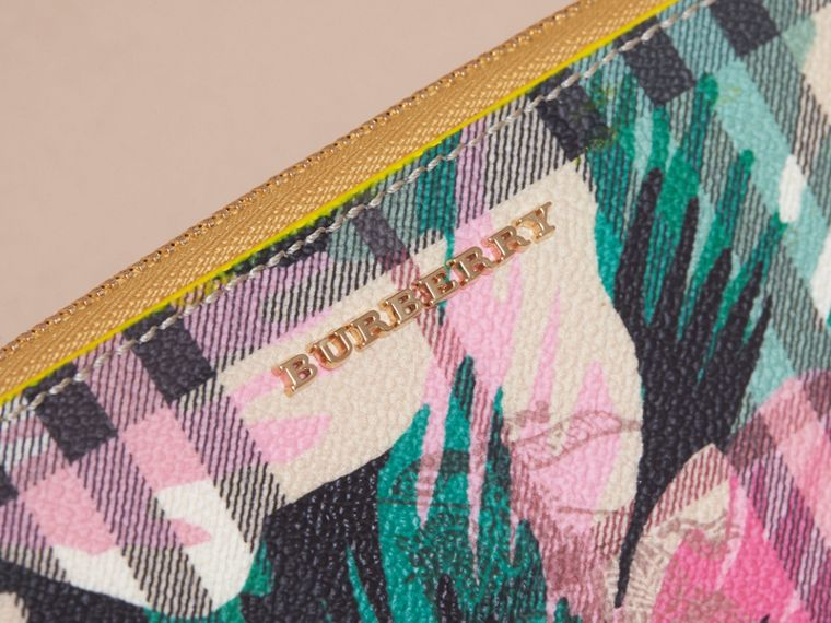 Larch yellow/emerald green Peony Rose Print Haymarket Check and Leather Ziparound Wallet - cell image 1