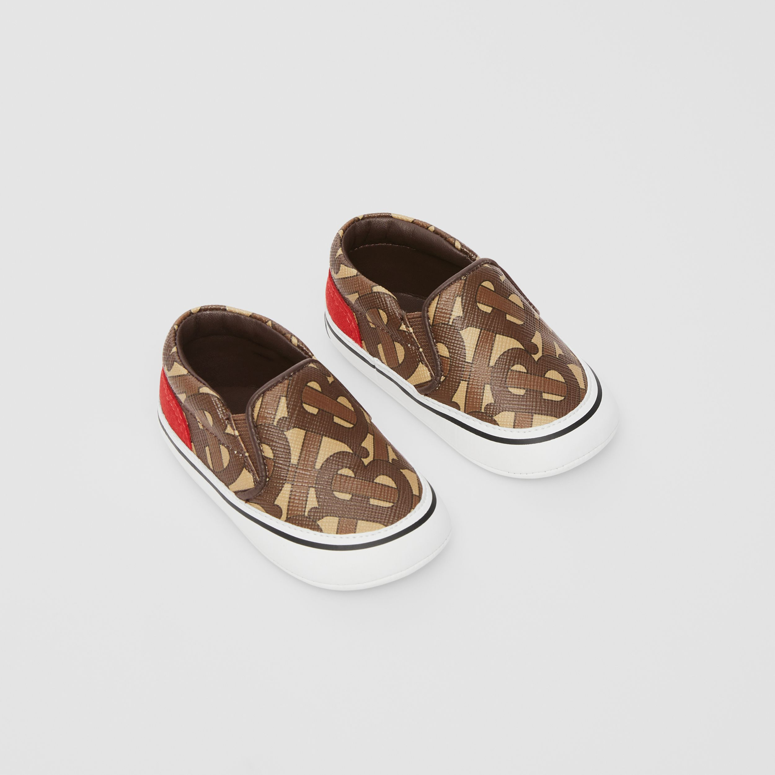 Monogram Print E-canvas Slip-on Shoes in Bridle Brown - Children | Burberry - 1