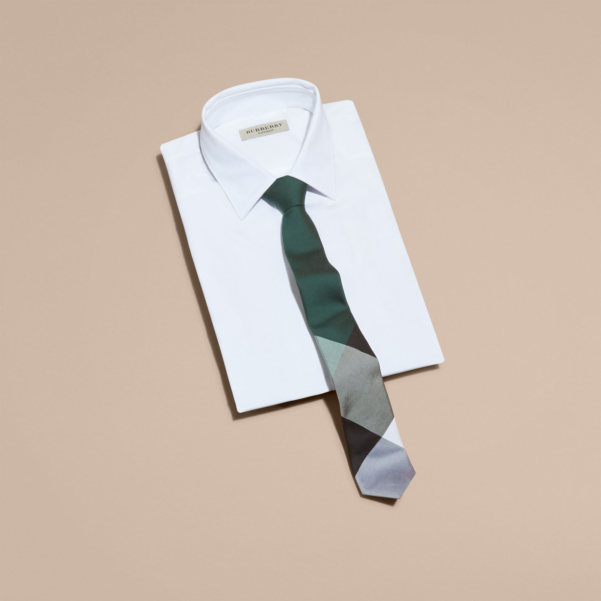Slim Cut Check Silk Cotton Tie Dark Forest Green - gallery image 4