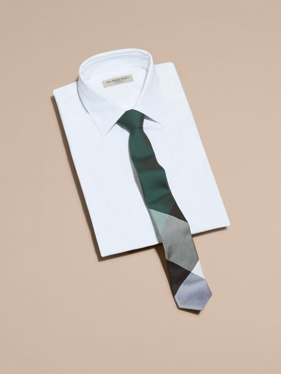 Slim Cut Check Silk Cotton Tie Dark Forest Green - cell image 3