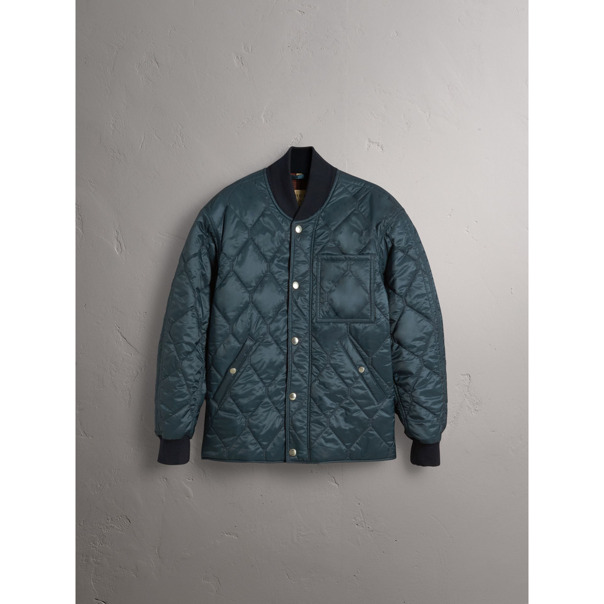 Quilted Bomber Jacket in Petrol Blue - Men | Burberry United Kingdom - gallery image 4