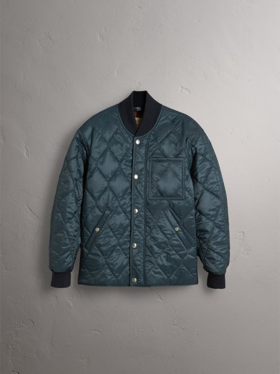 Quilted Bomber Jacket in Petrol Blue - Men | Burberry United States - cell image 3