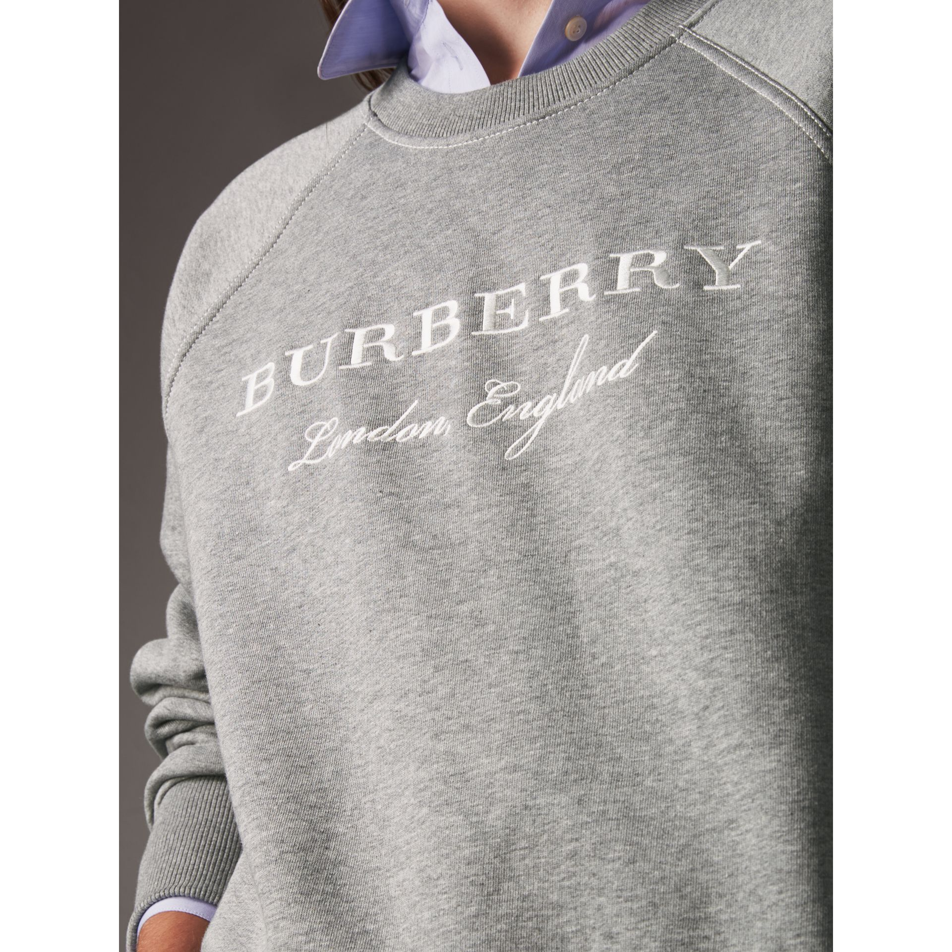 Embroidered Cotton Blend Jersey Sweatshirt in Pale Grey Melange - Women | Burberry - gallery image 1