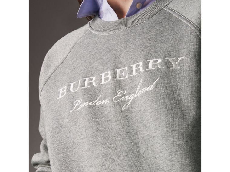 Embroidered Cotton Blend Jersey Sweatshirt in Pale Grey Melange - Women | Burberry Australia - cell image 1