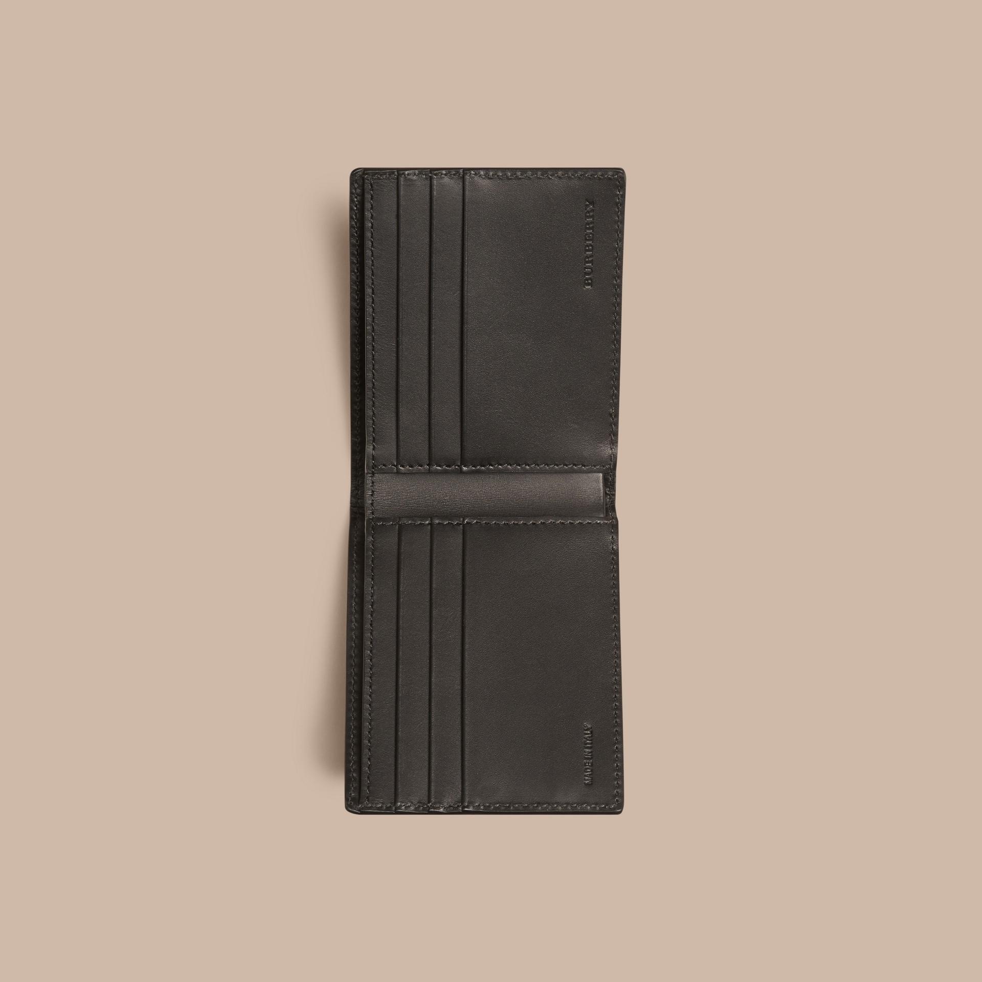 Schwarz Faltbrieftasche aus London-Leder Schwarz - Galerie-Bild 4