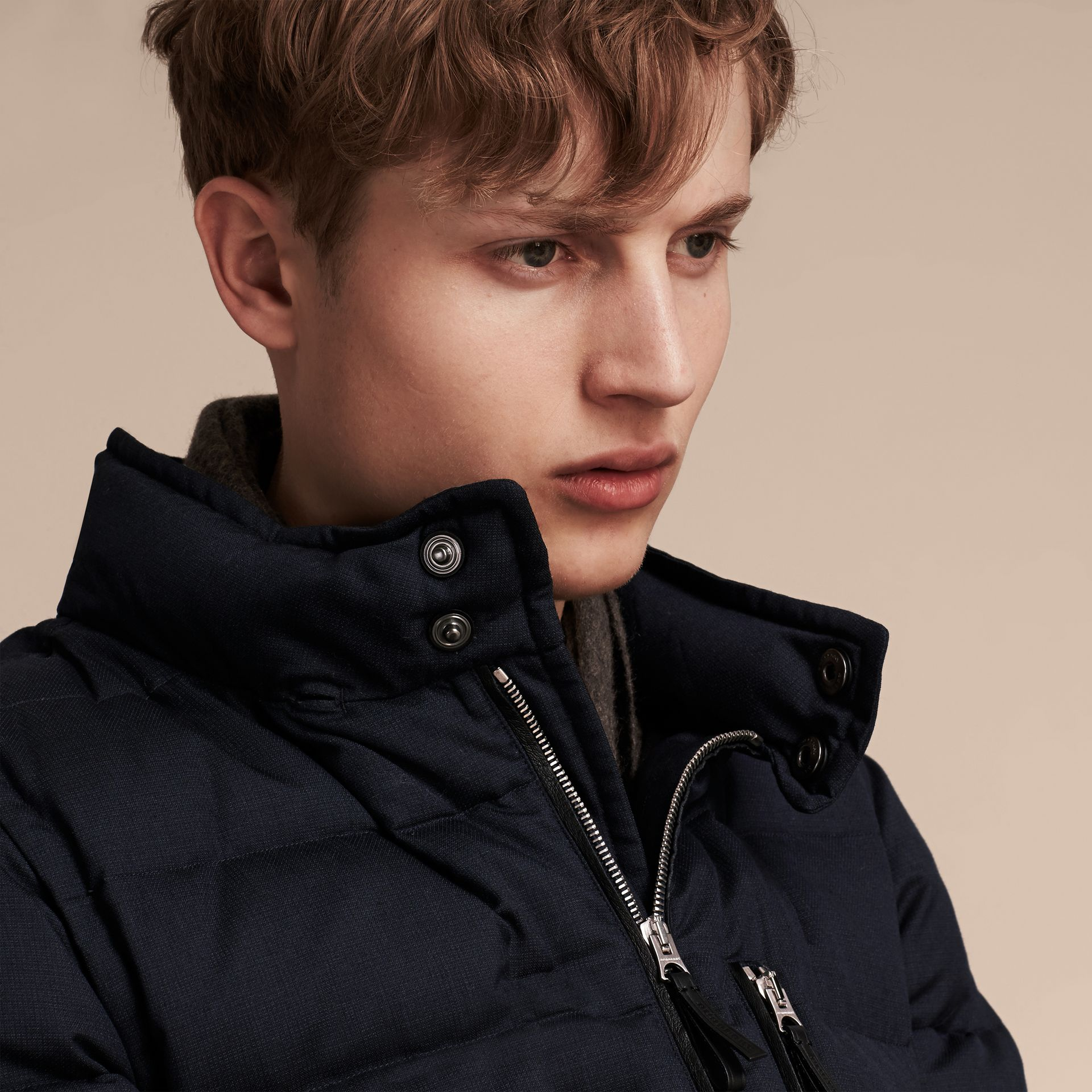 Navy Down-filled Silk Wool Puffer Jacket - gallery image 8