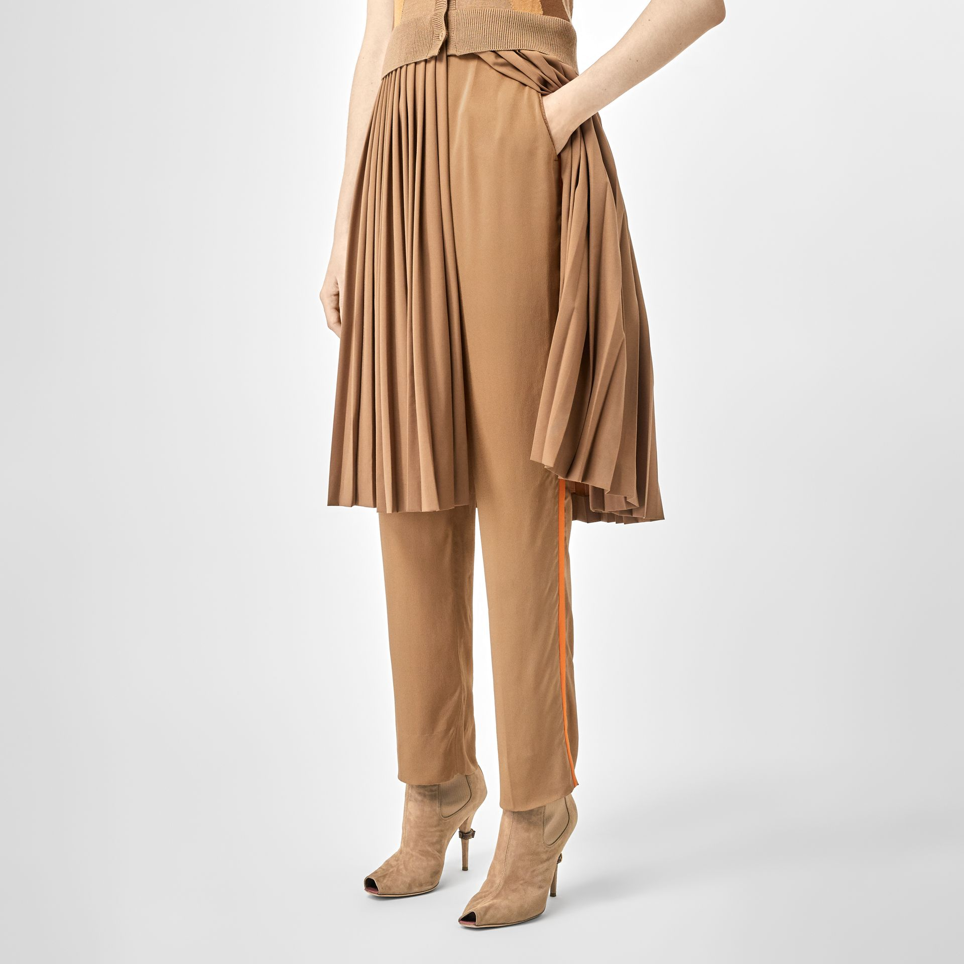 Satin Stripe Crepe Tailored Trousers in Driftwood - Women | Burberry United States - gallery image 0